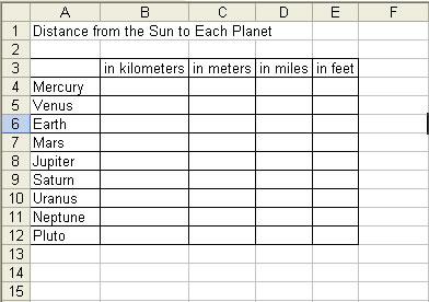 Excel table of Planet Distances